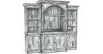 Arched Top Cabinet with Pier Cases